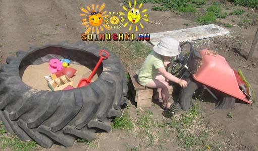Как сделать песочницу своими руками из шин 5