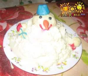 """Торт творожный  """"Снеговик"""""""